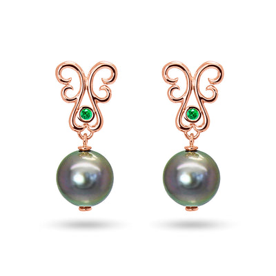 Bespoke drop earrings with black Tahitian pearls, ethical green emeralds and rose gold