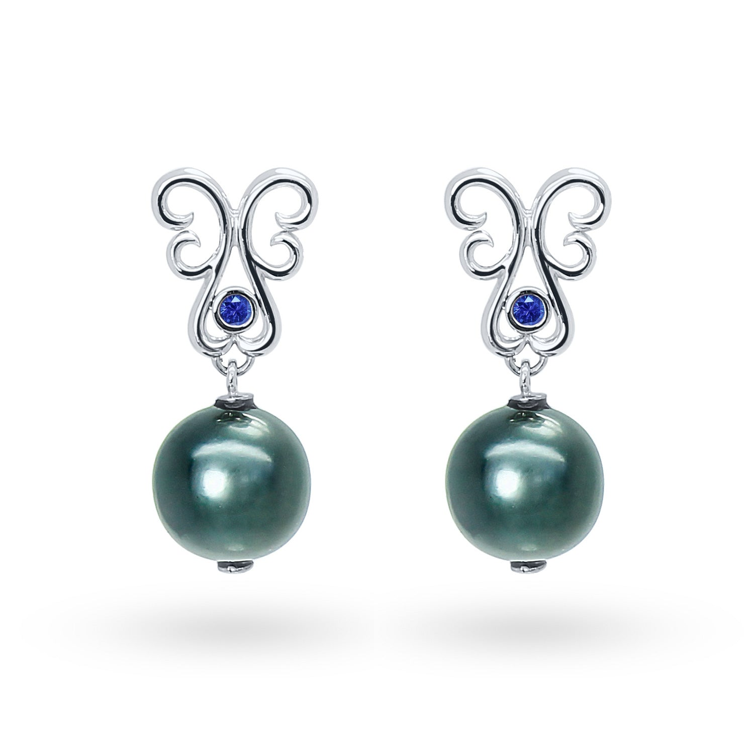 Bespoke Tahitian Black Pearl Drop Earring Set