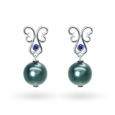 Bespoke earrings with Tahitian peacock pearls, ethical sapphires and ethical white gold