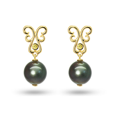 Bespoke drop earrings with black Tahitian pearls, ethical yellow diamonds and yellow gold