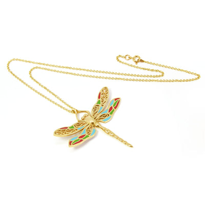 Bespoke Dragonfly Pendant - 9ct recycled yellow gold and coloured enamel 2