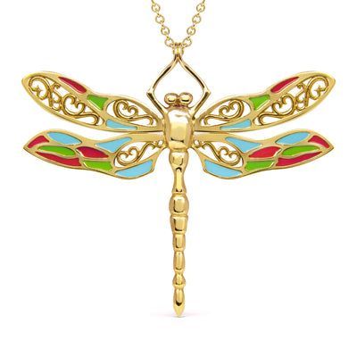 Bespoke Dragonfly Pendant - 9ct recycled yellow gold and coloured enamel