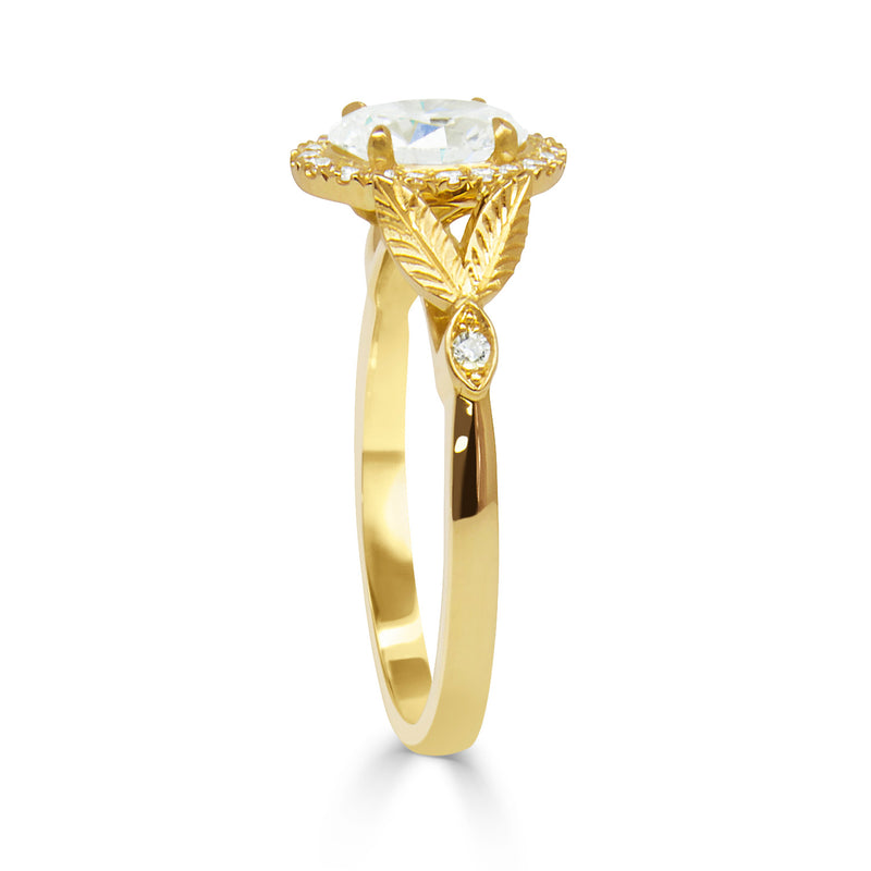 Bespoke Nature-Inspired Engagement Ring, Fairtrade yellow gold and a Canada Mark oval diamond