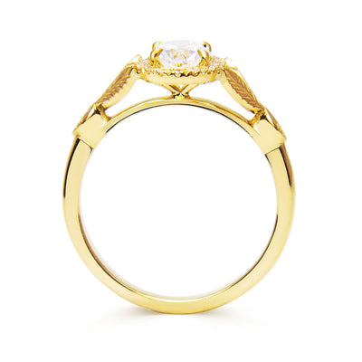 Bespoke Nature-Inspired Engagement Ring, Fairtrade yellow gold and a Canada Mark oval diamond 3