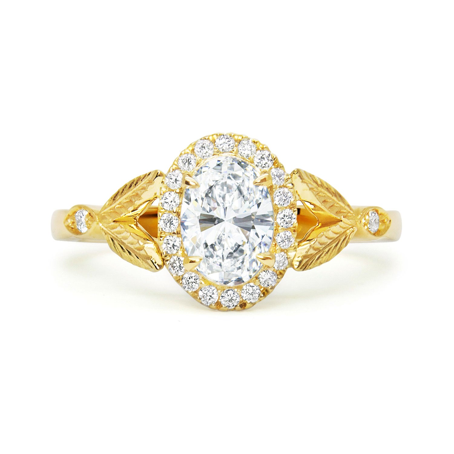 Bespoke Oval Diamond Nature Inspired Jamie Engagement Ring