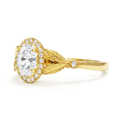 Bespoke Nature-Inspired Engagement Ring, Fairtrade yellow gold and a Canada Mark oval diamond 4