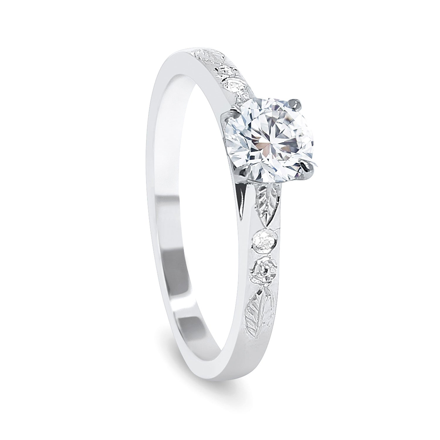Bespoke Abs Diamond Engraved Platinum Engagement Ring