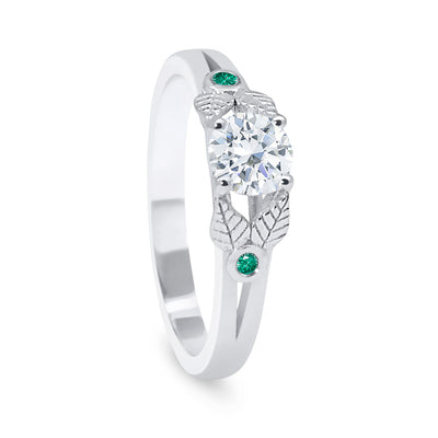 Bespoke Rob engagement ring - white Fairmined Ecological Gold, Canadamark diamond, fair-traded emeralds and nature-inspired engravings