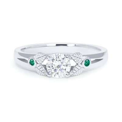 Bespoke Rob engagement ring - white Fairmined Ecological Gold, Canadamark diamond, fair-traded emeralds and nature-inspired engravings 2