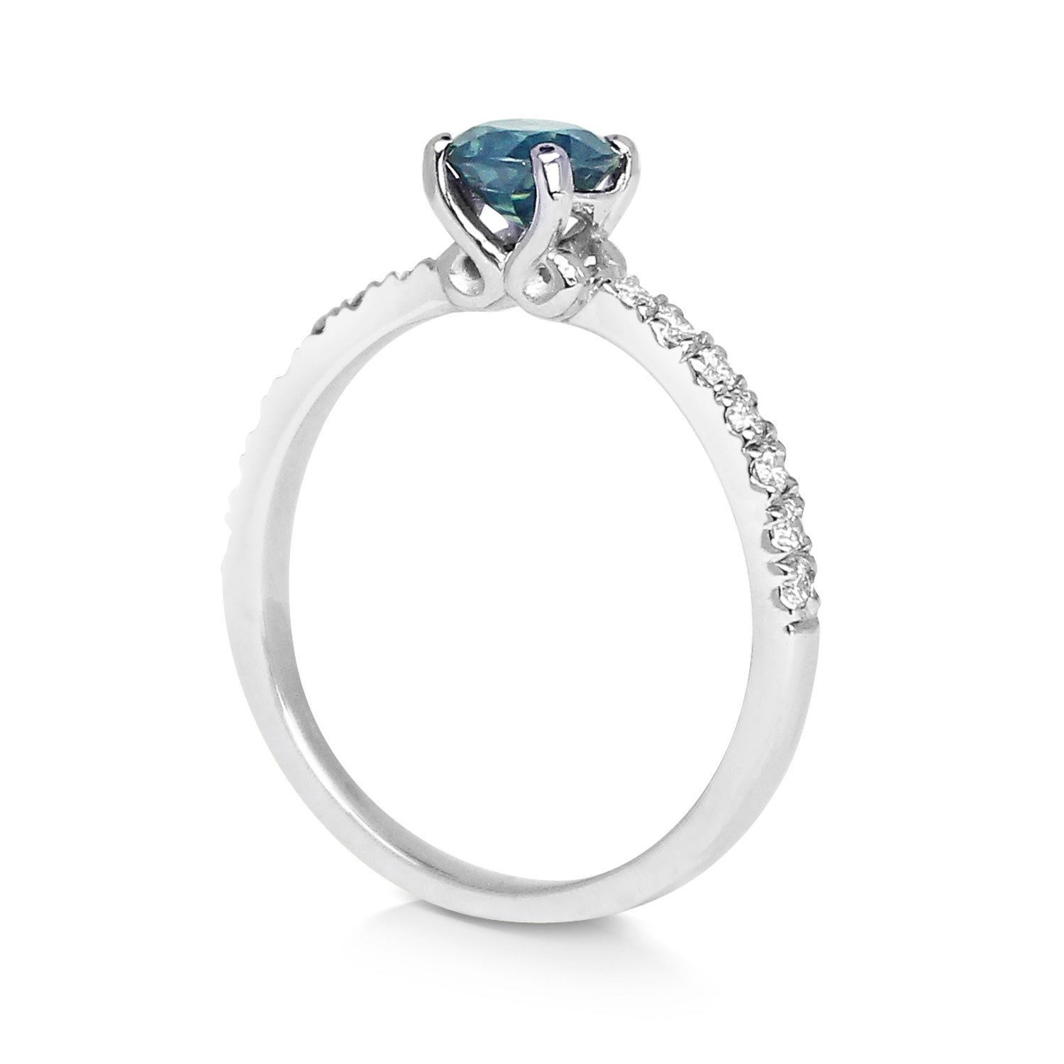 Bespoke engagement ring - teal Malawi sapphire, 100% recycled platinum and microset conflict-free diamonds