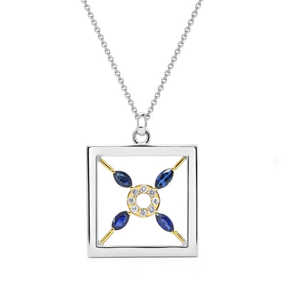 Bespoke pendant with ethical sapphires and recycled white gold