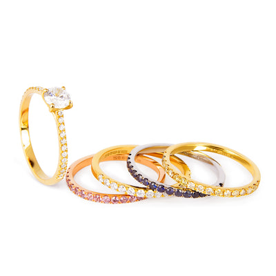 Altair Full Microset Ethical Ring, Champagne Diamond & 18ct Fairtrade Gold