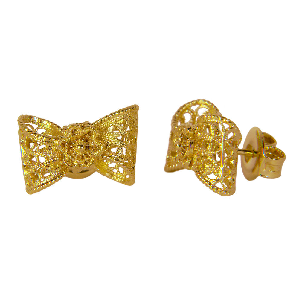 Filigree Bow Stud Earrings in Yellow Gold