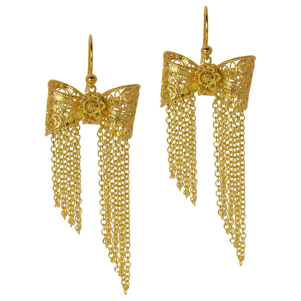 Filigree Bow Drop Earrings in Yellow Gold - Arabel Lebrusan