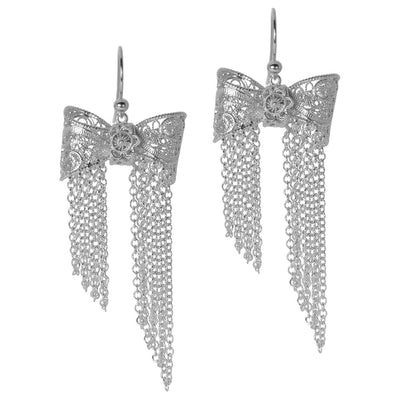 Filigree Bow Drop Earrings in Silver - Arabel Lebrusan