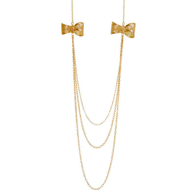Filigree Bow Necklace in Yellow Gold