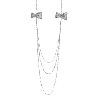Filigree Bow Necklace in Silver