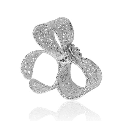 Filigree Bow Ring in Silver - Arabel Lebrusan