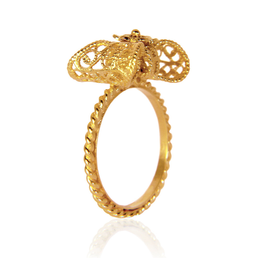 Filigree Bow Ring Small in Yellow Gold - Arabel Lebrusan