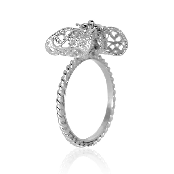 Filigree Bow Ring Small in Silver