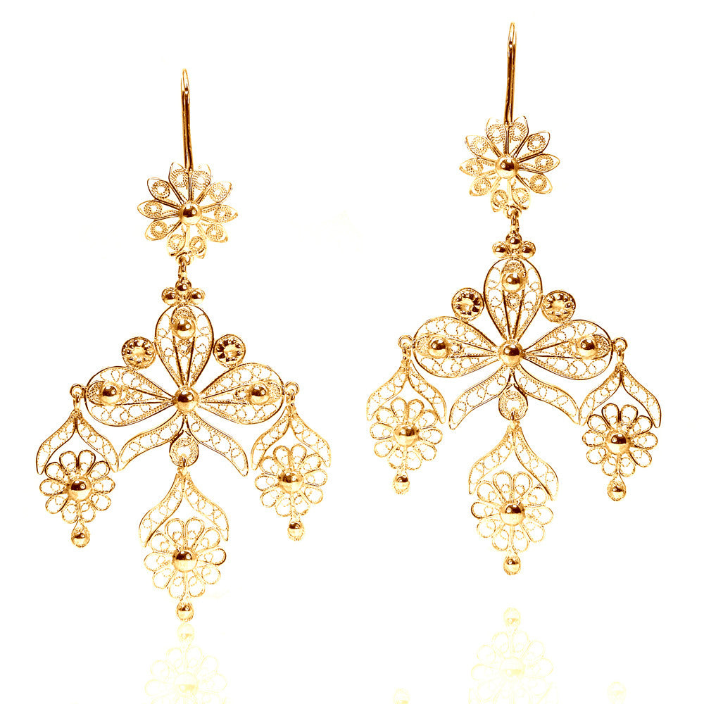 Filigree Ribbon Chandelier Earrings in Yellow Gold