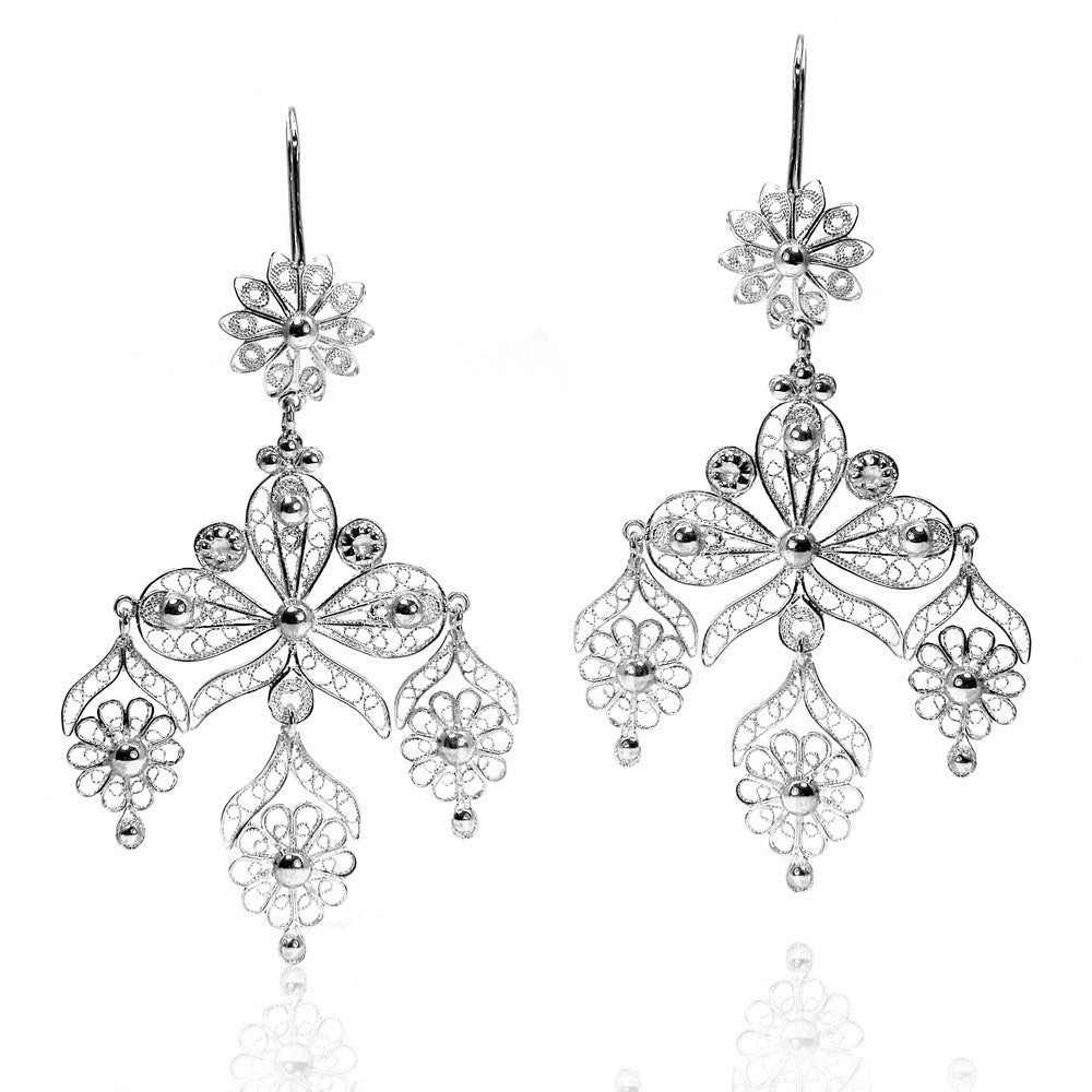 Filigree Ribbon Chandelier Earrings in Silver