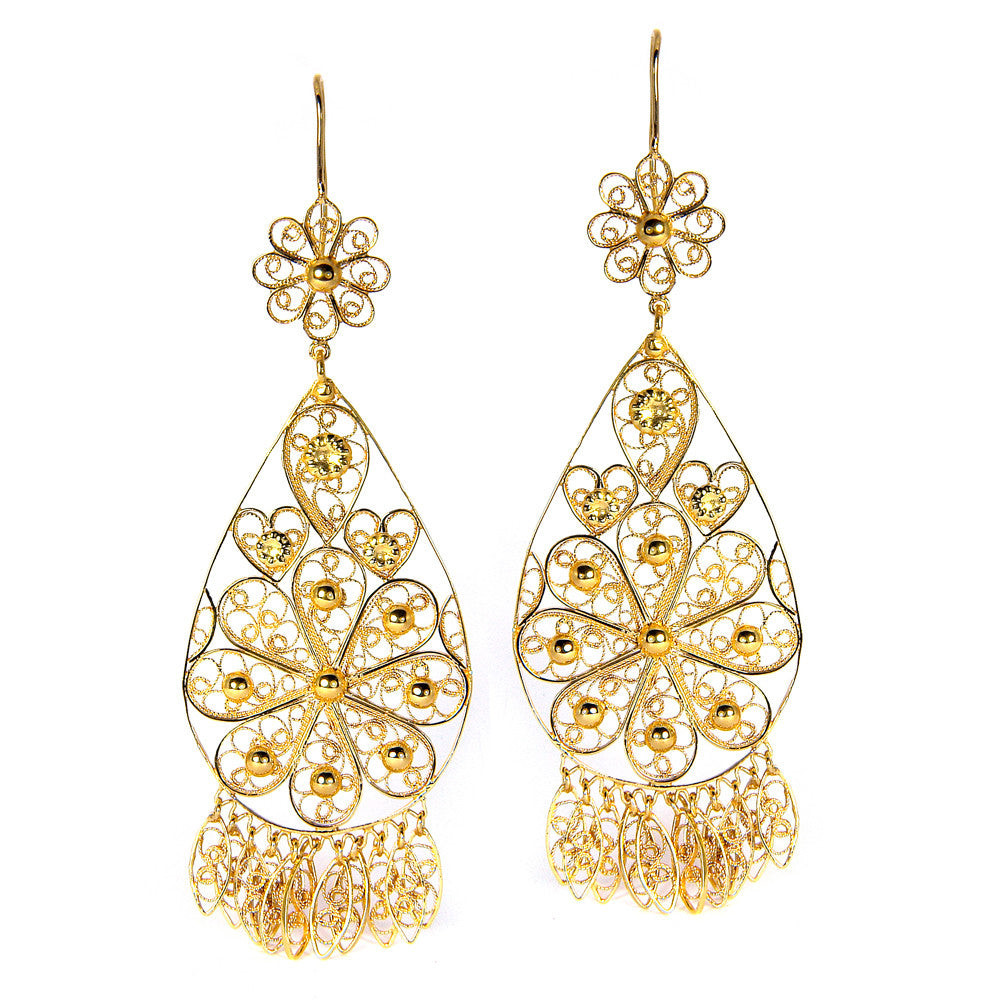 Filigree Teardrop Chandelier Earrings in Yellow Gold
