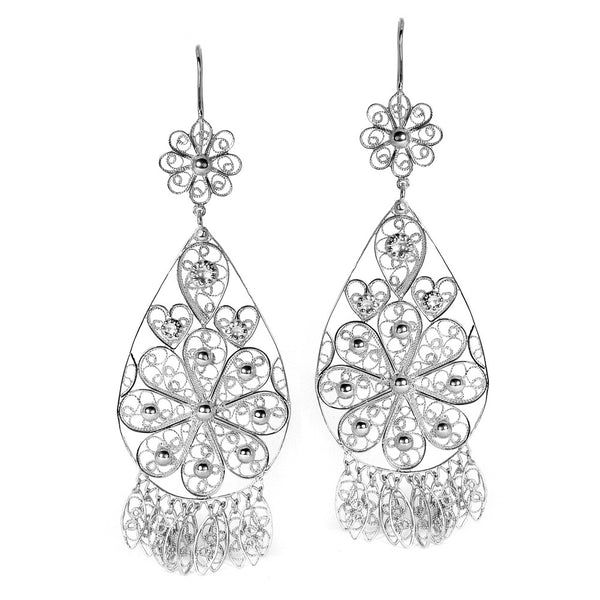Filigree Teardrop Chandelier Earrings in Silver