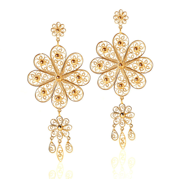 Filigree Rosette Chandelier Earrings in Yellow Gold