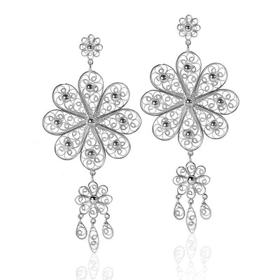 Filigree Rosette Chandelier Earrings in Silver