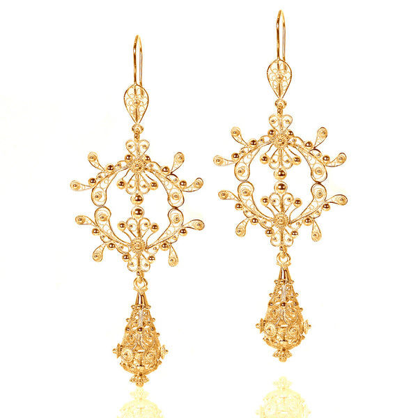 Filigree Silky Drop Chandelier Earrings in Yellow Gold