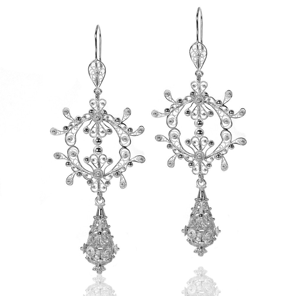 Filigree Silky Drop Chandelier Earrings. Silver