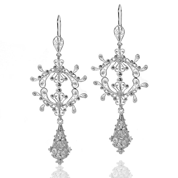 Filigree Silky Drop Chandelier Earrings in Silver