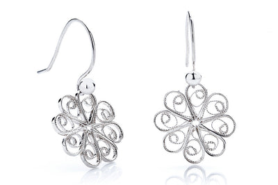 Rosette Filigree Earrings. Silver