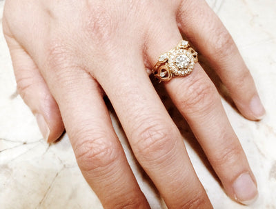 Bespoke Laura engagement ring - Canadian diamonds, Fairtrade Gold and milgrain beading 3