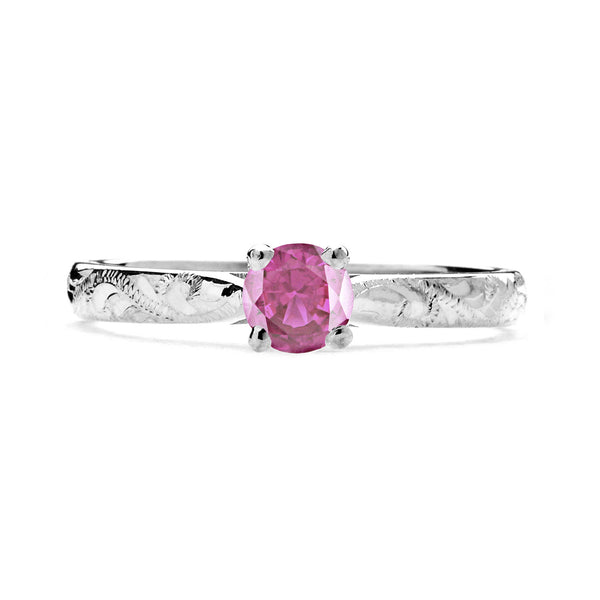 Athena Ethical Pink Ruby Gemstone Engagement Ring, 18ct Fairtrade Gold - Arabel Lebrusan