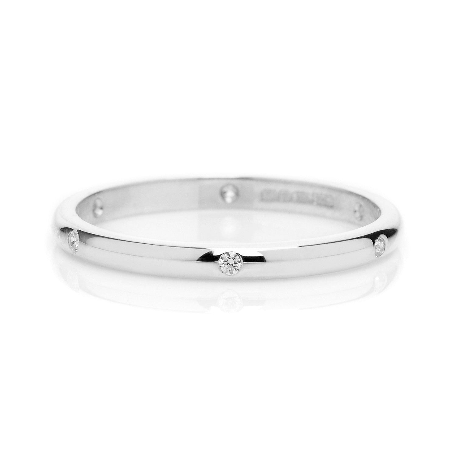 D Shape Beloved Diamond Ethical Platinum Wedding Ring 2mm