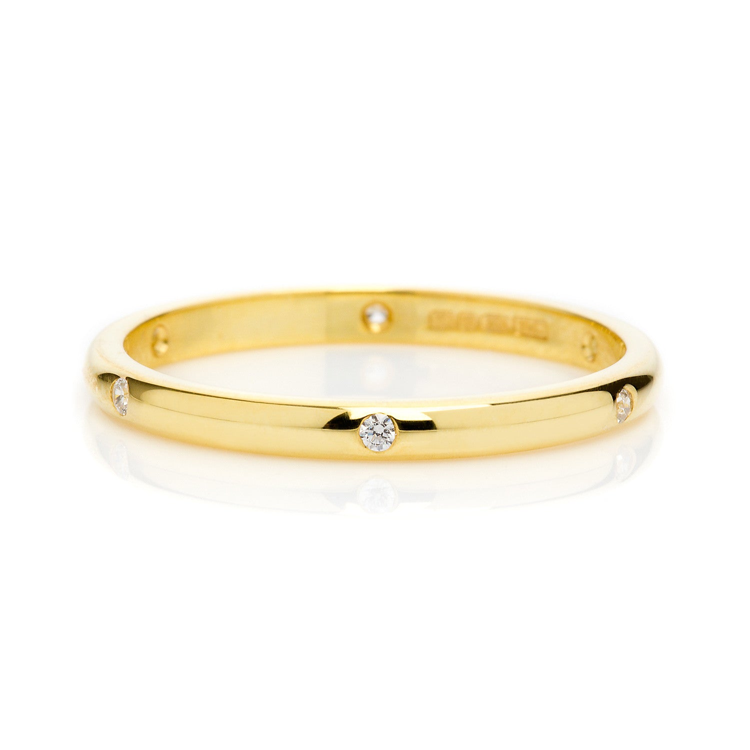D Shape Beloved Diamond Ethical Gold Wedding Ring 2mm - Arabel Lebrusan
