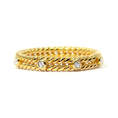 Braided Ethical Diamond Wedding Ring, 18ct Fairtrade Gold