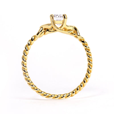 Braided Ethical Diamond Engagement Ring, 18ct Fairtrade Gold