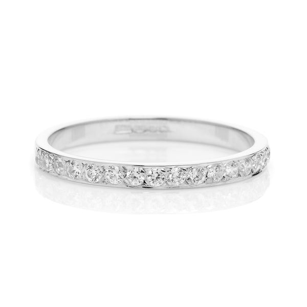 Cherish Half Diamond Ethical Gold Eternity Wedding Ring, 18ct Fairtrade Gold