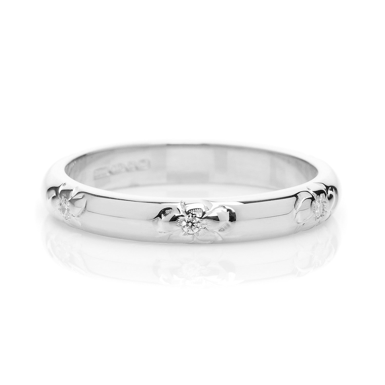 D Shape Diamond Flower Ethical Platinum Wedding Ring