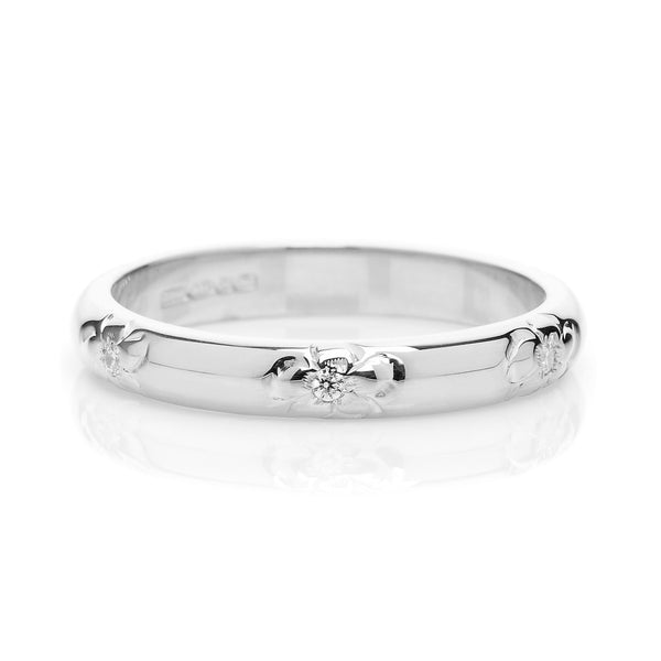 D Shape Diamond Flower Ethical Platinum Wedding Ring - Arabel Lebrusan