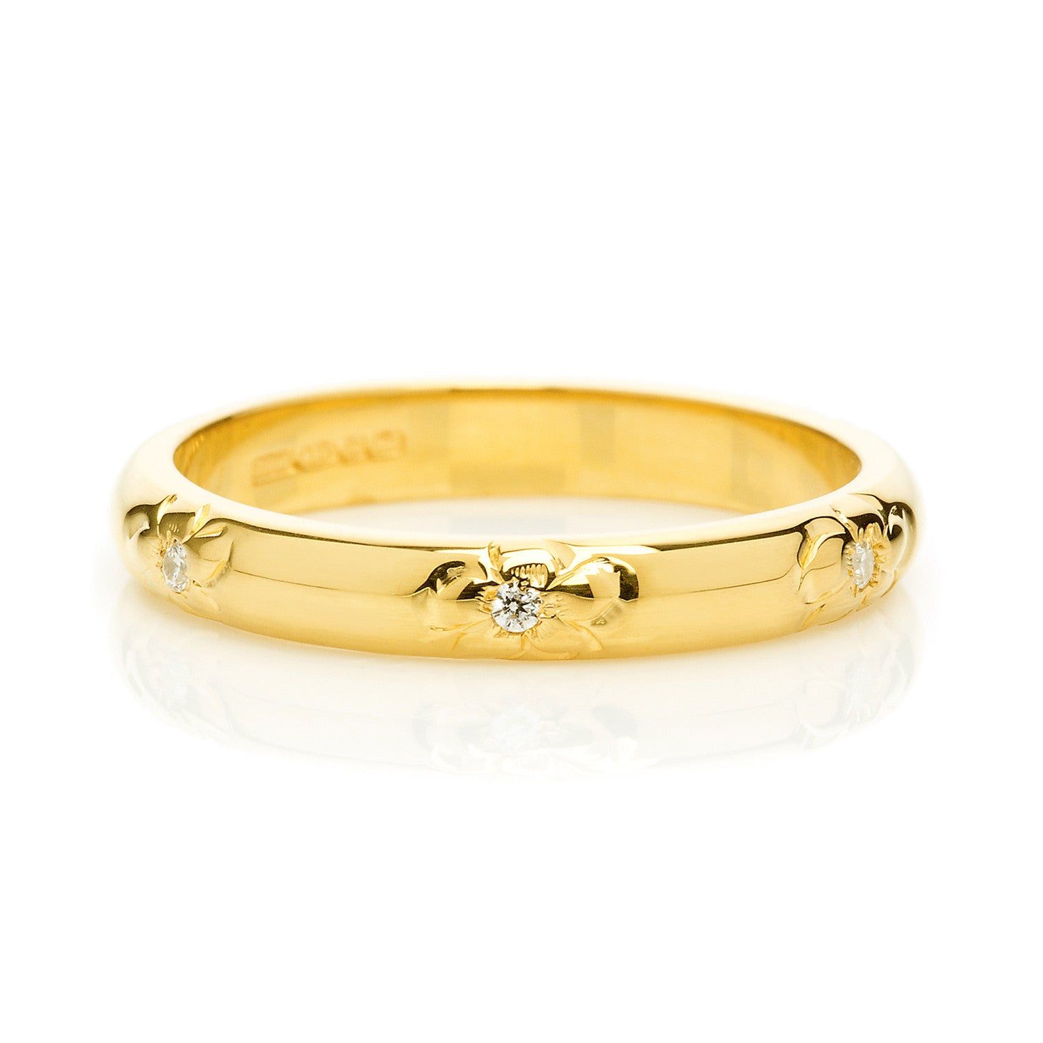 D Shape Diamond Flower Ethical Gold Wedding Ring