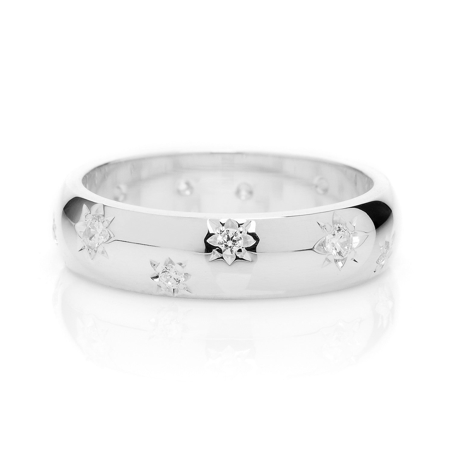 D Shape Diamond Star Ethical Platinum Wedding Ring