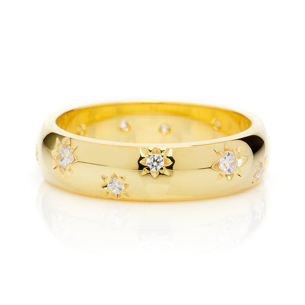 D Shape Diamond Star Ethical Gold Wedding Ring