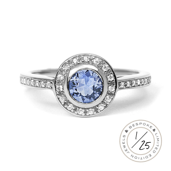 Efflorescence Ethical Light Blue Sapphire Gemstone Engagement Ring, 18ct Fairtrade Gold