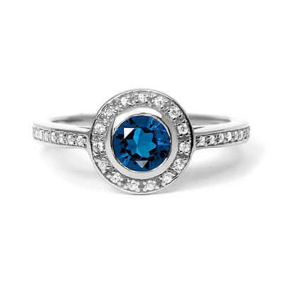 Efflorescence Ethical Sapphire Platinum Gemstone Engagement Ring