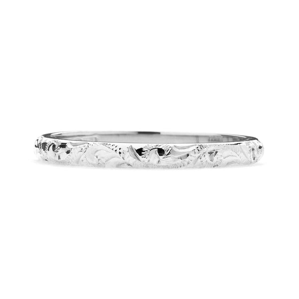 Scrolls Engraved Ethical Platinum Wedding Ring 2mm