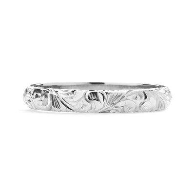 Scrolls Engraved Ethical Platinum Wedding Ring, 3mm